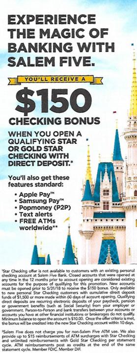Salem Five Bank $150 bonus