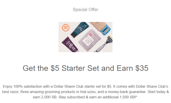 Swagbucks Dollar Shave Club Offer