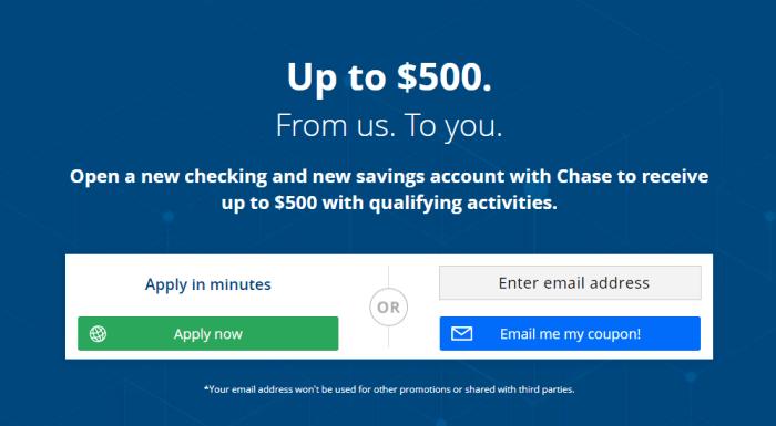 Chase $500 bonus