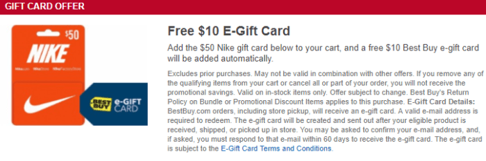 Nike Gift Card deal at Best Buy