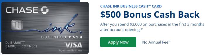 Chase Ink Cash 500 offer