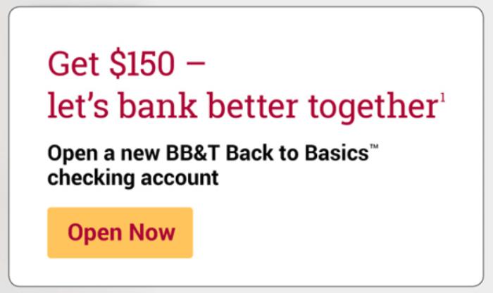 BB&T Bank 150 bonus