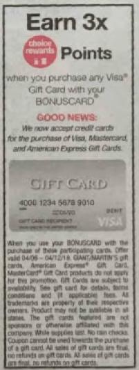 3X Fuel Rewards on Visa Gift Cards