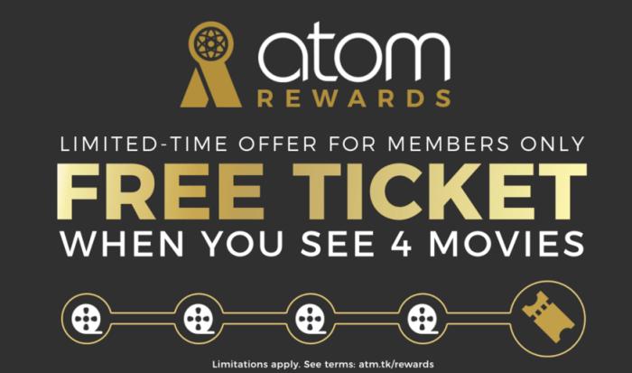 Atom Rewards free ticket
