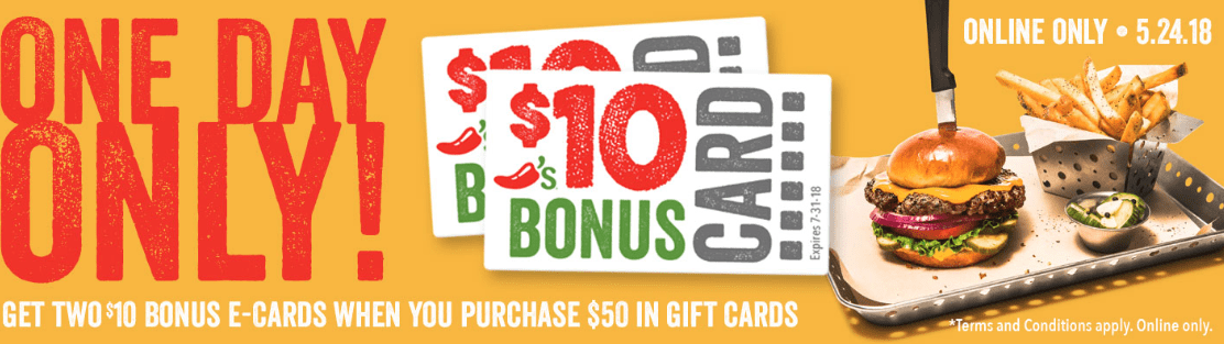Buy $50 Chili's Gift Card, Get Two $10 Bonus Cards