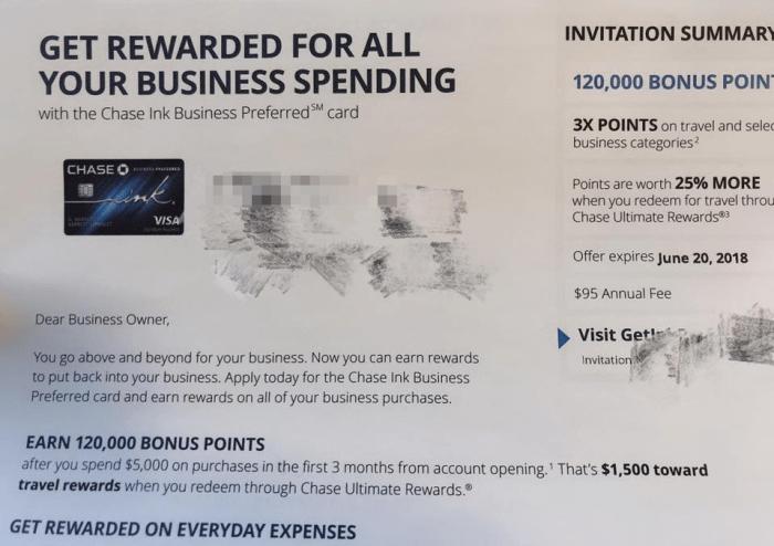 Chase Ink Business Preferred 120K bonus