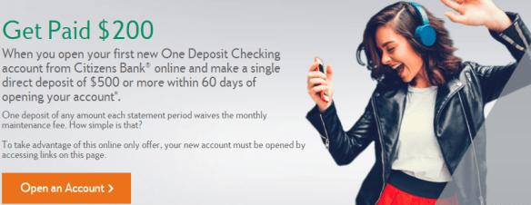 citizens bank 200 bonus