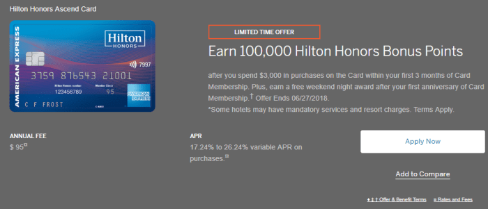 Amex Hilton Honors Ascend 100K Plus Free Night Offer
