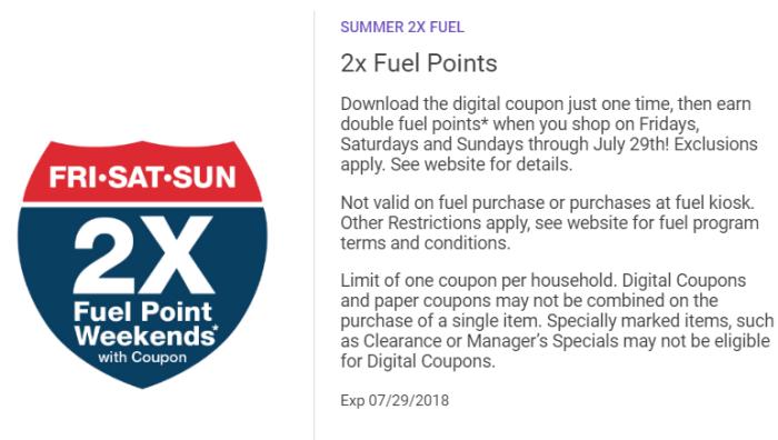 kroger double fuel points groceries