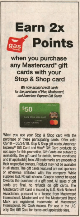 2X Fuel Points on Mastercard Gift Cards