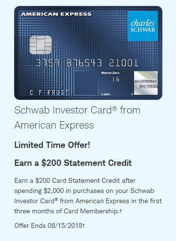 Amex Schwab Investor Card bonus