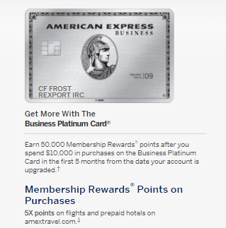 Amex Business Platinum Card Upgrade Offer 50k Points With 10k