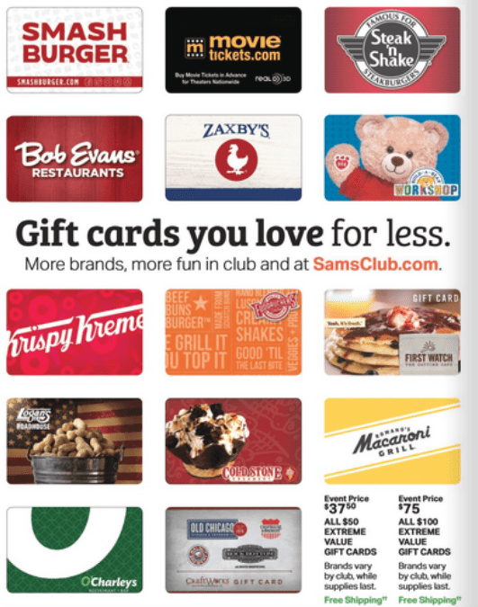 sam's club gift card discount