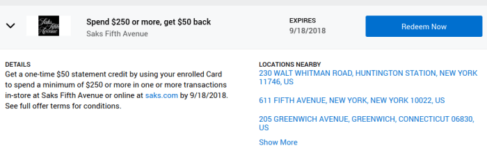 Saks Fifth Avenue Amex Offer