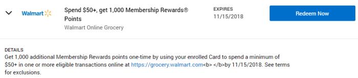 Walmart Online Grocery Amex Offer