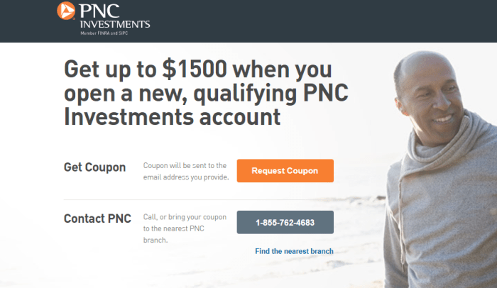 PNC Investments Account 1500 bonus