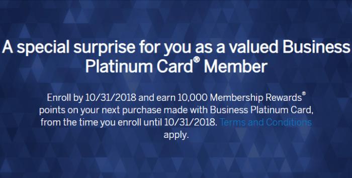Amex Business Platinum Card 10k targeted offer