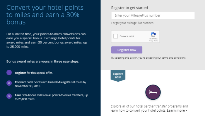 Hotel Points to United Miles with 30% Bonus