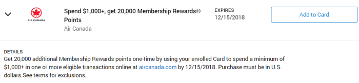 Air Canada Amex Offer