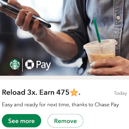 Reload Starbucks Balance with Chase App