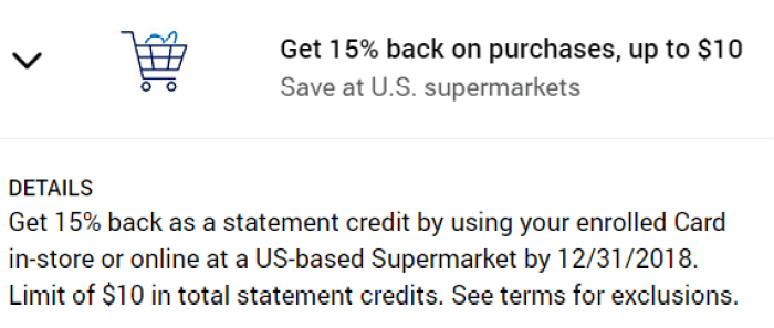 Supermarkets Amex Offer