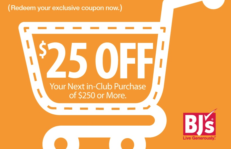 photo regarding Bjs One Day Pass Printable called Expired] BJs, Printable Coupon for $25 Off $250 Within just-Club