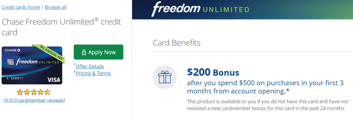 Chase Freedom Unlimited $200 Offer