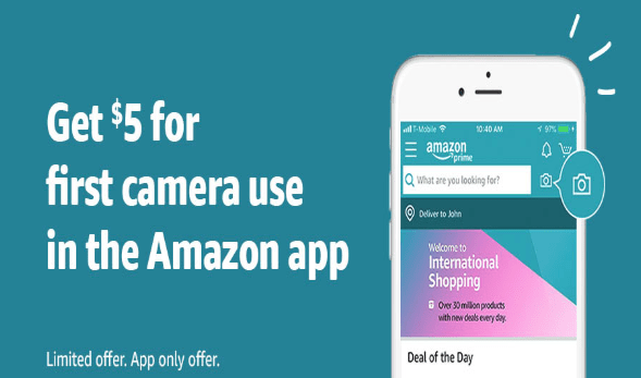 Use Camera Feature on Amazon App for First Time, Get $5 (YMMV)