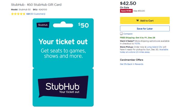 Best Buy, 15% Off StubHub Gift Cards - Danny the Deal Guru
