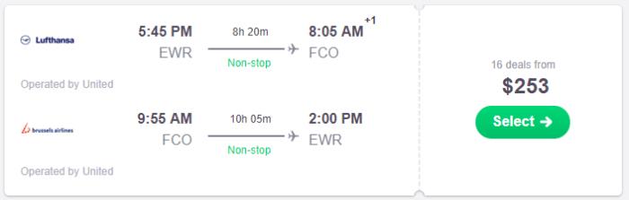 cheap flights to rome