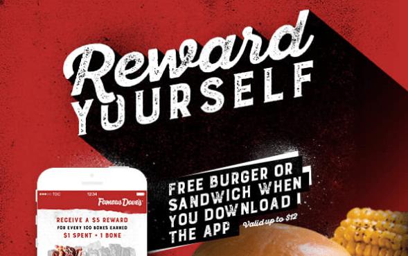 famous dave's free burger sandwich
