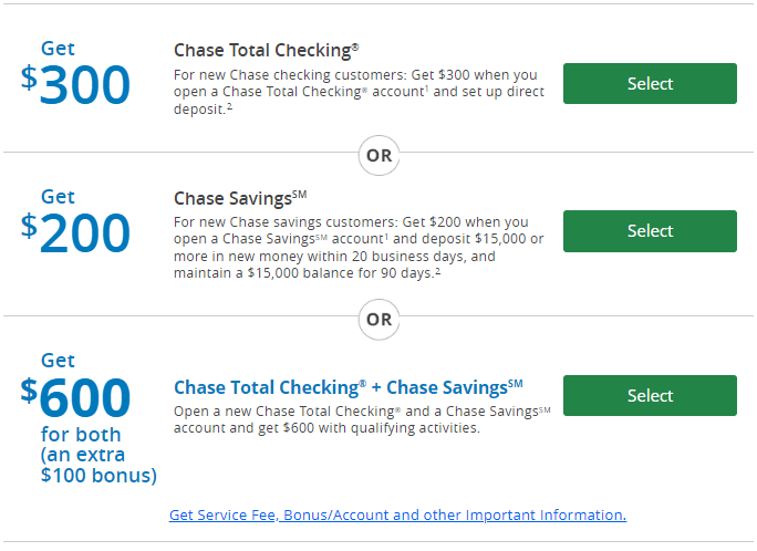Chase $600 Bonus for Checking and Savings Accounts