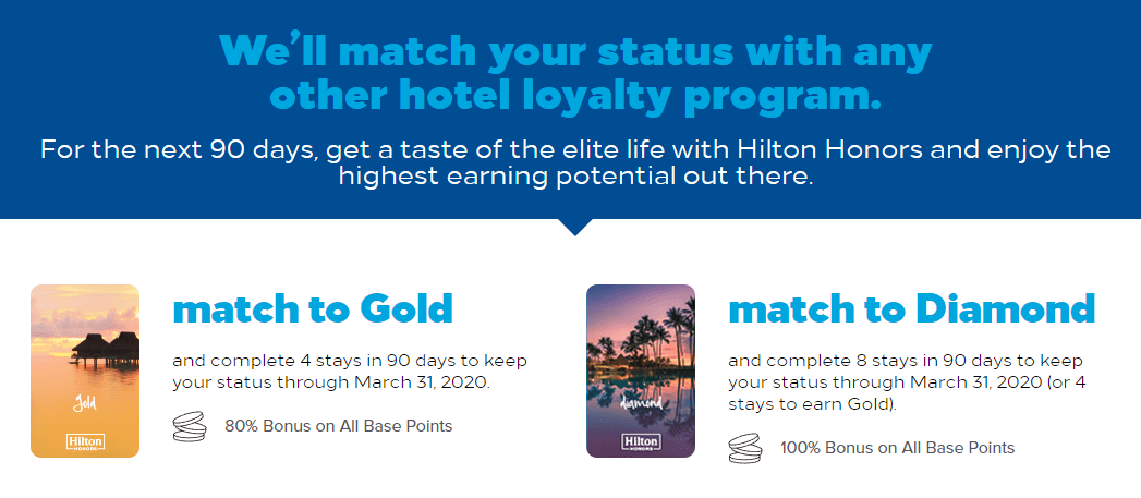 Hilton Status Match Promo, Get Gold/Diamond Through 03/2020