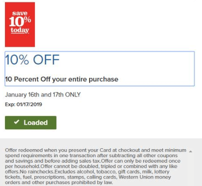giant 10% off groceries