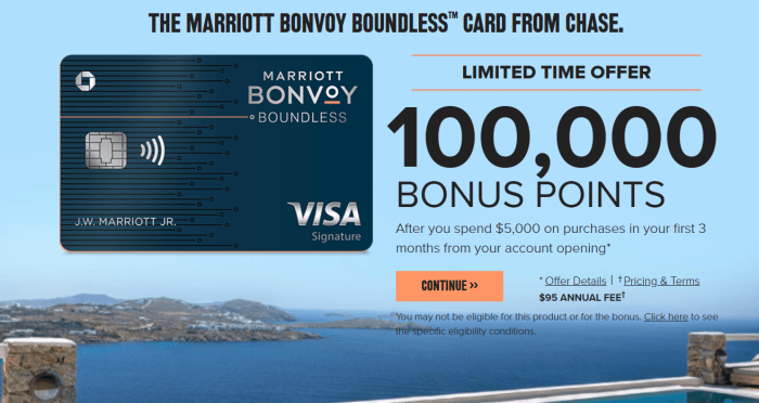 Chase Marriott Bonvoy Boundless Card 100k bonus