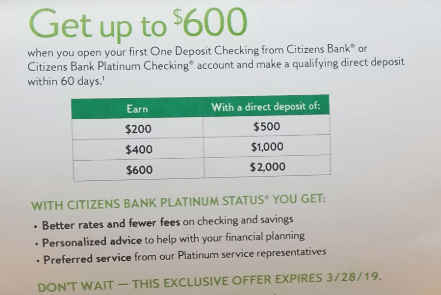 Citizens Bank $600 Bonus