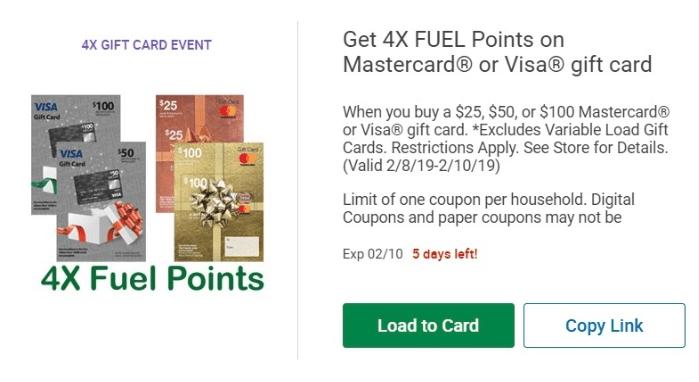 kroger 4x visa mastercard