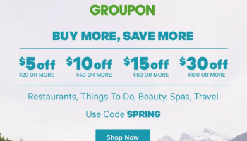 Groupon, Save up to 30% Today with Promo Code MORE