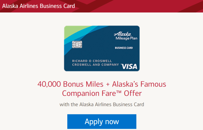 Alaska Airlines Business Card bonus