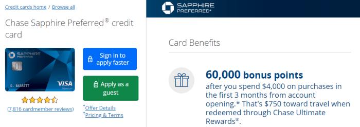 Chase Sapphire Preferred 60K bonus
