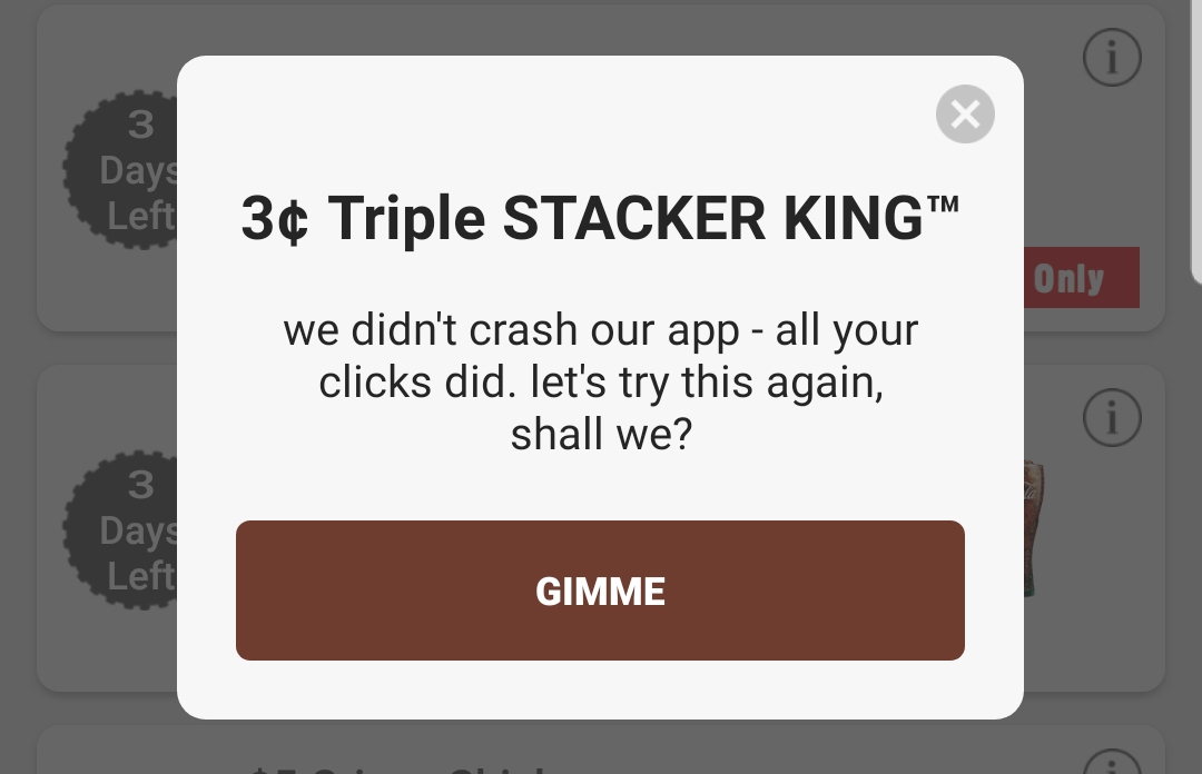 Burger King App, Get a Triple Stacker King for 3¢