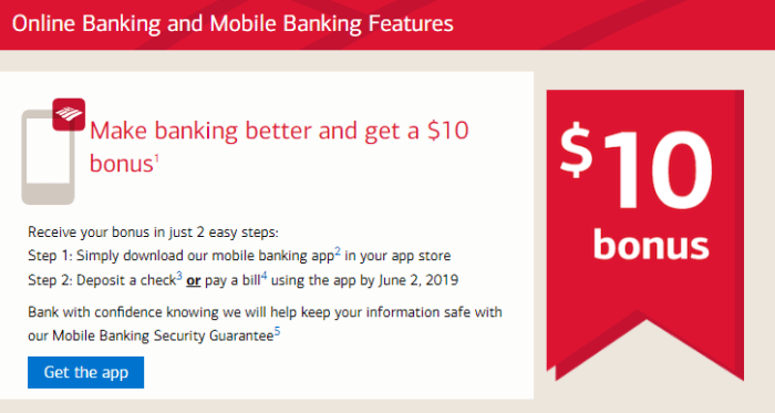 bank of america mobile app bonus
