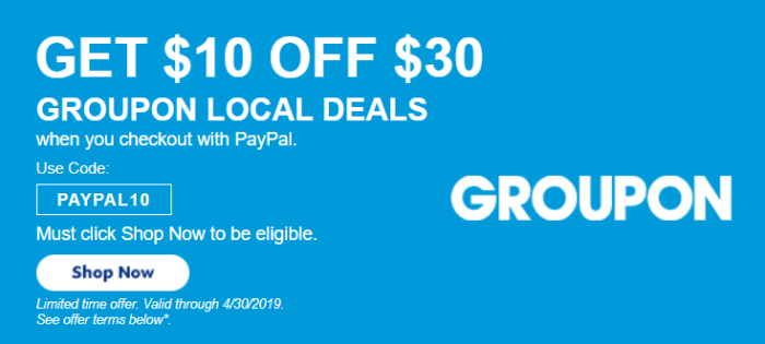 groupon paypal $10 off