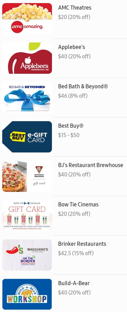 Discounted Gift Cards with Samsung Pay: 20% Off Applebee's, AMC, Regal and More
