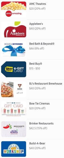 Discounted Gift Cards with Samsung Pay