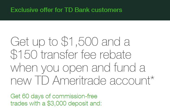 TD Ameritrade, Up To $1,500 Bonus and $150 Transfer Fee Rebate