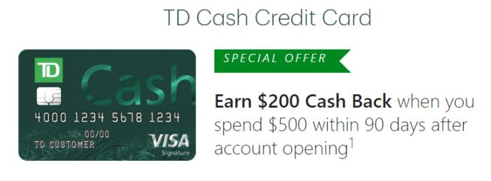 TD Cash Card $200 bonus