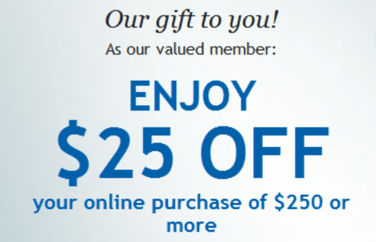 Check Emails for $25 Off $250 Discount at Costco com