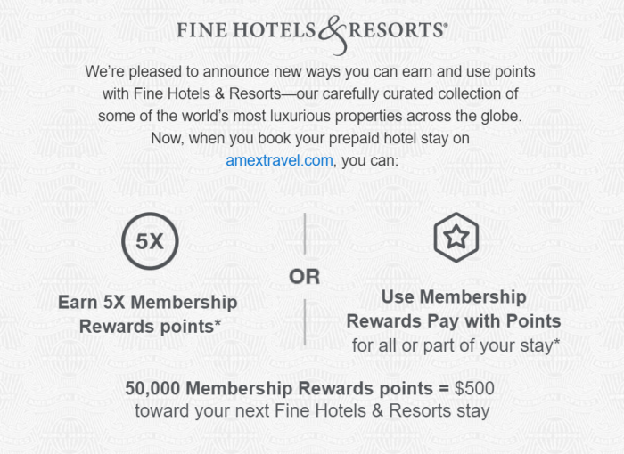 Use Amex Membership Rewards Points for Fine Hotels & Resorts Booking