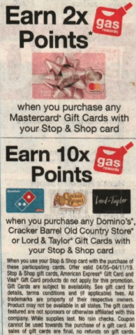 stop shop gift card fuel points